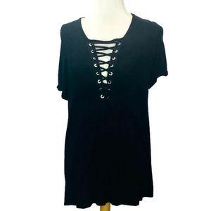 Torrid Deep V Lace Up Black Knit Short Sleeve Top